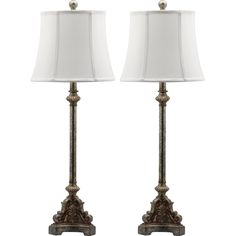 Safavieh Lighting Collection Rimini Console Antique Silver 33.5-inch Table Lamp (Set of 2)