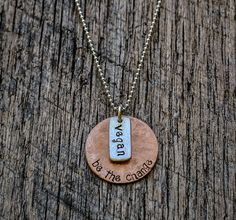 "Vegan Be the Change Hand Stamped Copper and Recycled Sterling Silver Necklace, Textured Metal, Unisex, Yoga, Eco-Friendly, 16"" Ball Chain"