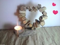 Driftwood Heart Shabby Chic Hand Crafted Candle Tea Light Holder Gift nauticaloceans.com