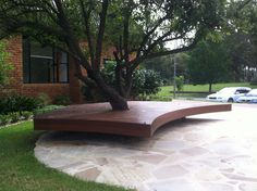 Deck Plans Around A Tree | tree tags curved deck floating decking around tree park seat