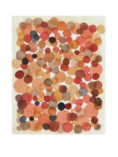 orange dots - watercolor painting - burnt siena - abstract painting wall art little painting fall autumn