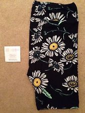 LuLaRoe Tall And Curvy TC Dandelion Black White Floral Unicorn HTF Leggings