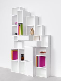 SECTIONAL LACQUERED MODULAR MDF STORAGE WALL BY CUBIT BY MYMITO