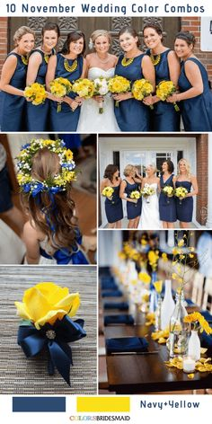 summer wedding 10 Gorgeous November Wedding Color Palettes in 2018 - Navy and Yellow November Wedding Colors, Navy Wedding Colors Fall, Wedding Color Pallet, Wedding Color Schemes, Navy Yellow Weddings, Navy Blue Bridesmaids, Wedding Yellow, Color Palettes, Marie