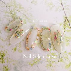 Pin by Lily Okamoto on Nails in 2019 Bridal Nails, Wedding Nails, Cute Nails, Pretty Nails, Hair And Nails, My Nails, Kawaii Nails, Japanese Nail Art, Fabulous Nails