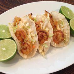 Shrimp Tacos with Sriracha Slaw {Gluten Free Recipe}