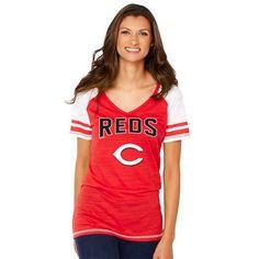 Women's Cincinnati Reds Soft as a Grape Red Sleeve Stripe Gameday V-Neck Tri-Blend T-Shirt - MLB.com Shop