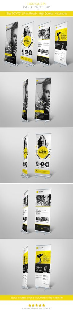 Premium Hair Salon Roll-up Banner - Signage Print Templates - Graphic Nitro Web Design, Design Typo, Mail Design, Layout Design, Print Design, Signage Design, Brochure Design, Pull Up Banner Design, Pop Up Banner