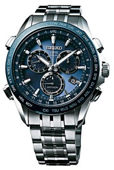 The new version of the Seiko Astron GPS Solar watch includes a chronograph function and has a deep blue, light-penetrating dial. Prices range from 1,800 euros to 2,400 euros ($2,470 to $3,300, approximately).