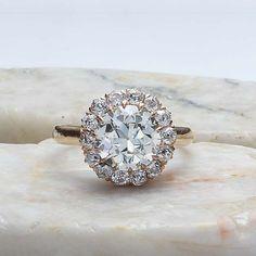Stunning Edwardian Diamond Halo engagement Ring. - VR160614-03