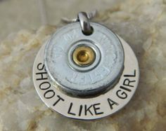 Shoot Like a Girl Bullet Necklace by WireNWhimsy on Etsy