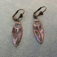 Sweet little Tulip Copper Cutouts in Pink and Purple Copper Enamel, newest Earrings in my Etsy Shop.