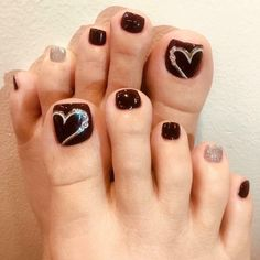 Simple Toe Nails, Black Toe Nails, Pretty Toe Nails, Cute Toe Nails, Classy Nails, Cute Acrylic Nails, Fancy Nails, Nude Nails, Feet Nail Design
