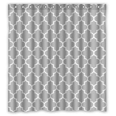 Lawrence Eco Friendly Grey Moroccan Tile Quatrefoil Pattern Printed Fabric Shower Curtain With Hooks Polyester Waterproof Bathroom Curtains 66x72 inch