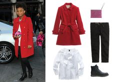Burberry girls red wool coat, $379; childrensalon.com; Marni glitter clutch, $213; dante5.com; Crewcuts girls' toothpick jean in black, $48; jcrew.com; Bonpoint ranger ankle boots, $216; bonpoint.com; Oscar de la Renta cotton long-sleeve bow blouse, $110; oscardelarenta.com - Photo: (clockwise from left) Getty Images; Courtesy of childrensalon.com; Courtesy of dante5.com; Courtesy of J.Crew.com; Courtesy of bonpoint.com; Courtesy of Oscar de la Renta