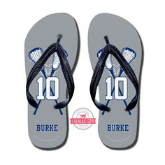Add your team colors, name, and number! Whether you are needing to recover from a long practice or game or wanting to rep your favorite sport our Girls Lacrosse Flip Flops are for you! LuLaLax.com