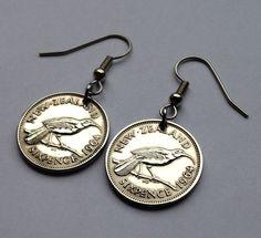 1964 New Zealand 6 pence coin pendant earrings fish hook jewelry huia extinct wattlebird BIRD birds perched branch dangle & drop No.E000047 by coinedJEWELRY on Etsy