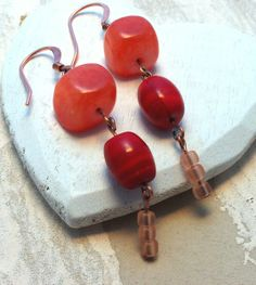 Long Red Cherry ClipOns or Copper Ear Wires Red by acanthusjd, $22.00