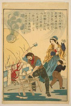 """Le texte lit approximativement """"Le français Bernard Palissy voulait faire de la belle vaisselle. Sa femme et ses enfants se sont fâchés quand il dut brûler les meubles pour alimenter le four, mais à la fin il connût le succès"""""""