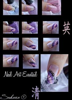Purple, light pink and black hand painted nail art tutorial