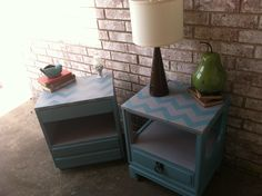 Adorable second hand nightstands given new life!  I love this aqua and light grey combo!  Used ASCp Provence and Paris grey!
