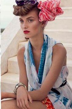 shibori Scarf & Top | Floral Shorts