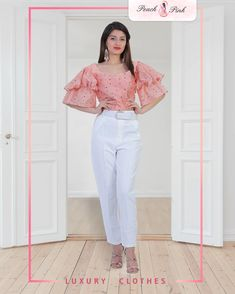Featuring bell sleeves crop top and high-waisted pants. Bell Sleeve Crop Top, Bell Sleeves, Top Clothing Stores, Winter Outfits, Cool Outfits, Co Ord Sets, Crop Blouse, Two Piece Sets, Winter Fashion