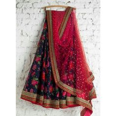 Navy Blue Poly Silk Lace Work Floral Print Semi Stitched Lehenga
