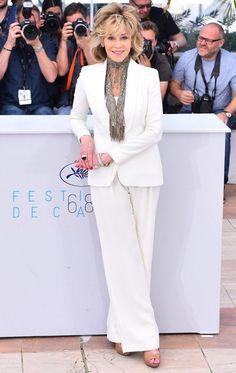 Look da atriz Jane Fonda no Festival de Cannes 2015.