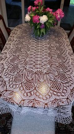 Lace Knitting, Knitting Patterns, Crochet Patterns, Filet Crochet, Knit Crochet, Crochet Tablecloth, How To Make Cookies, Knitted Shawls, Tablecloths