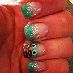 Owl gel nails