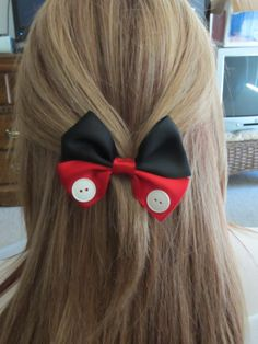 Mickey Mouse hair bow Disney Inspired by bulldogsenior08 on Etsy, $7.50