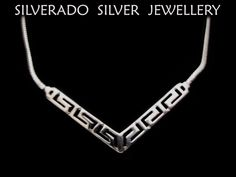 Sterling Silver 925 Greek Meander Key Fine Spiky Necklace 44.5 cm 17.35 inches by SilveradoJewellery on Etsy