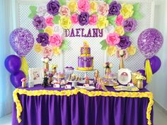 Tangled Birthday Sweet Station Decor With Paper Flowers and Balloons