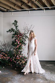 Karen Willis Holmes 'Rose' wedding gown.   Follow us - @KWHBridal | Photography - Sophie Thompson . #karenwillisholmes #bridetobe #laceweddingdress #modernwedding  #kwhRose