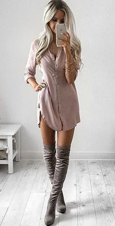 Love this! Gorgeous outfit idea. Mink suede boots are stunning.