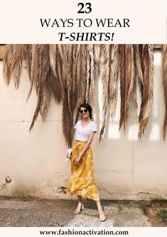 midi skirt outfit yellow H&M skirt white V neck Zara t-shirt vinyl stradivarius high heels sandals outfits style Source by gxbaryy Fashion outfits Yellow Skirt Outfits, Midi Skirt Outfit, Basic Outfits, Summer Outfits, Fashion Outfits, Woman Outfits, Style Fashion, Fashion Ideas, Mama Shirt