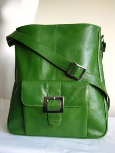 Kelly Green Leather Pocket Messenger Bag