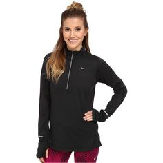 Nike Element Half-Zip Women's Long Sleeve Pullover, Black ($33) ❤ liked on Polyvore featuring activewear, activewear tops, black, nike activewear, nike sportswear, nike, long sleeve pullover и nike pullover