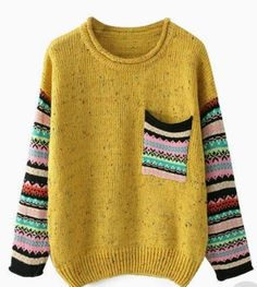 ROMWE offers Pocketed Striped Yellow Jumper & more to fit your fashionable needs. Fair Isle Knitting, Baby Knitting, Poncho Pullover, Latest Street Fashion, Knit Fashion, Fashion Outfits, Pulls, Knitting Patterns, Crochet Patterns