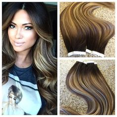Ombre/Balayage European Remy Tape in Seamless Weft Extensions!!! Heres what you will receive when purchasing this listing: 100% Cuticle Remy