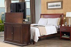 harrison end of bed motorized flat screen lift cabinet bed with tvflat