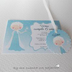 Invitación y etiqueta de cumpleaños de la princesa Elsa, Frozen, Disney