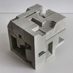 Architectural concrete sculpture based on the Soma Cube geometry