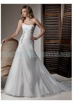 #Organza Rouched Bodice ini A line Skirt and Chapel Train 2011 Hot Sell Strapless Wedding Dress WM-0392