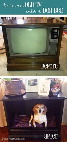 Turn an old TV into a dog bed! Great DIY tutorial.