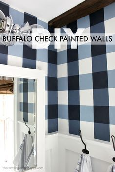 I'm in love with buffalo checks.  I might try this idea in my powder room.  My check colors would be greige and white.