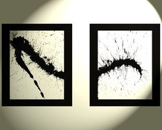2  Original Abstract Black And White Watery by Creative108 on Etsy
