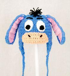 Eeyore Earflap Hat from Winnie the Pooh Blue Crochet by GeekinOut, $30.00