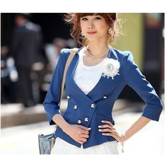 Buy New Style Pure Color Back Pleated Coat Blue with cheapest... via Polyvore